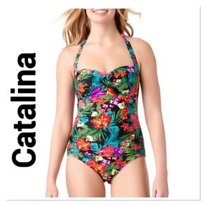 CATALINA Tropical Floral Halter One Piece Swimsuit